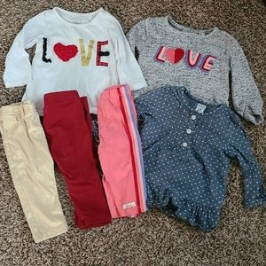 3 LS Made to Match Baby Girl Outfits Size 3-6